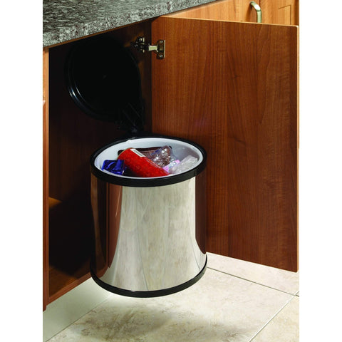 Automatic Opening Waste Bin to Suit Minimum 400mm Wide Cabinet, Polished Steel, 1 x 12 Litre Capacity, Storage - Kitchen Suppliers Online