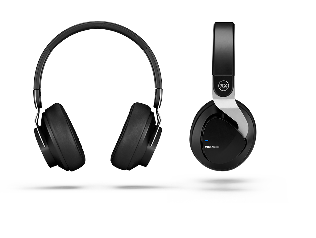 JX2 wireless headphones front and side views