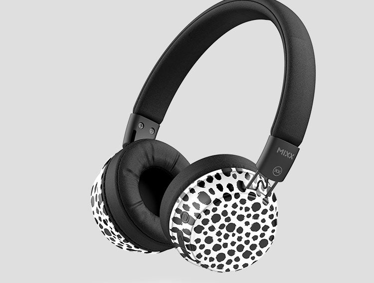 OX2 wireless headphones in dalmatian