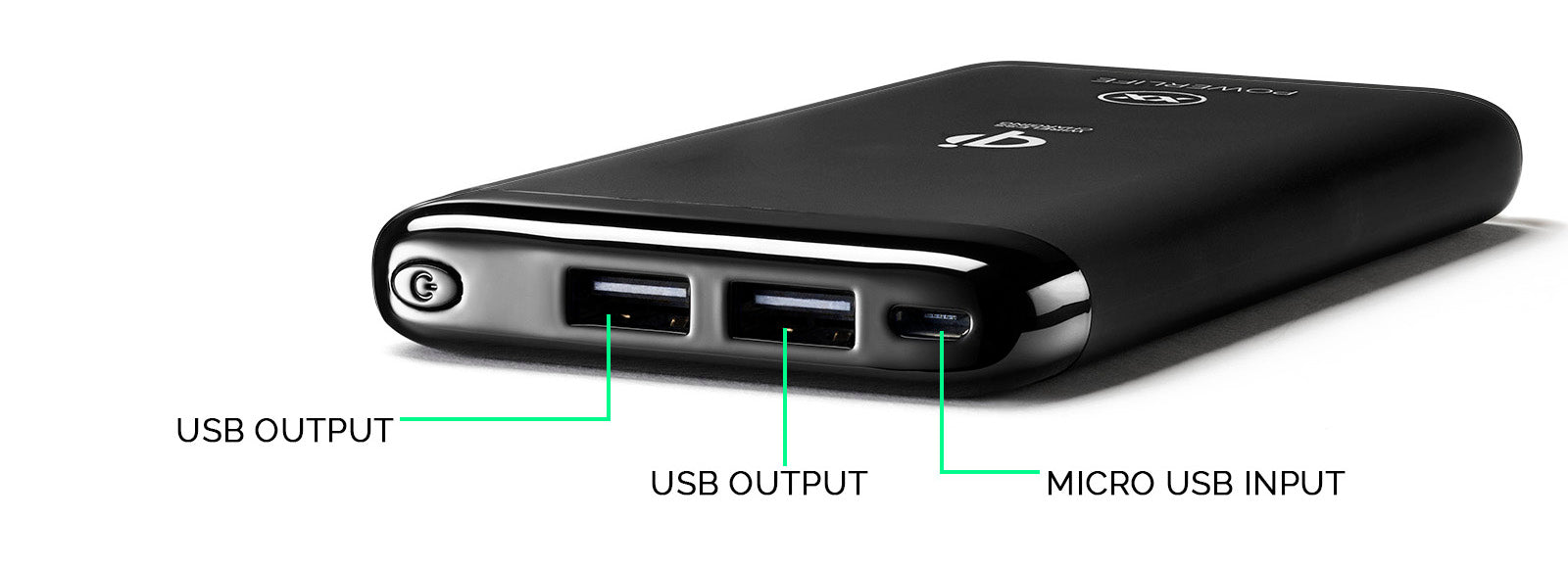 Qi5 wireless power bank ports