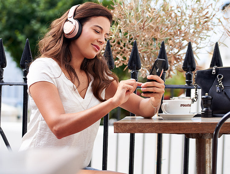 JX2 Bluetooth wireless headphones in rose gold