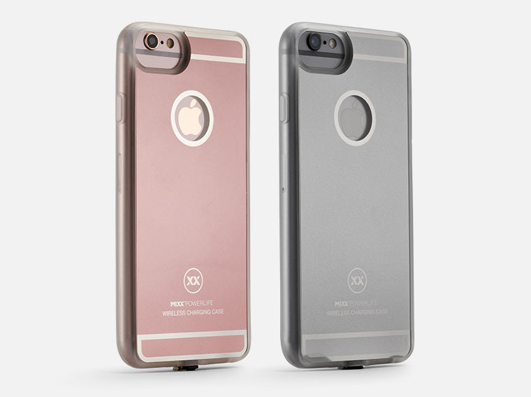 wireless charging case in rose gold and space grey