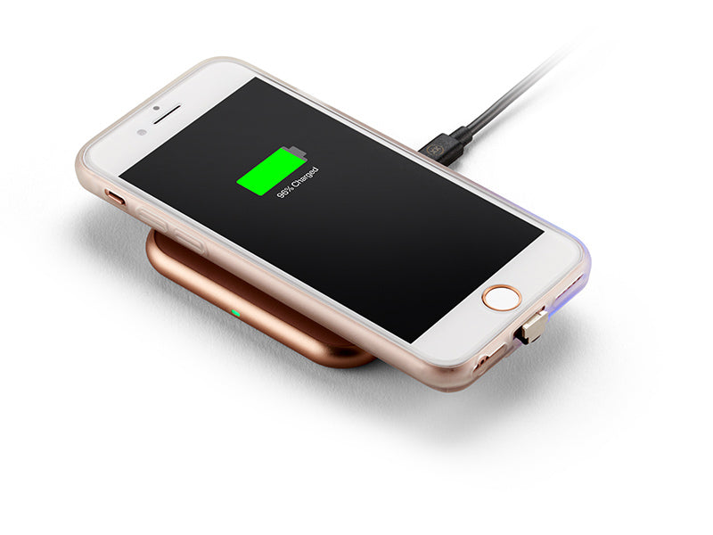 ChargeCase wireless charging phone case on top of wireless charger
