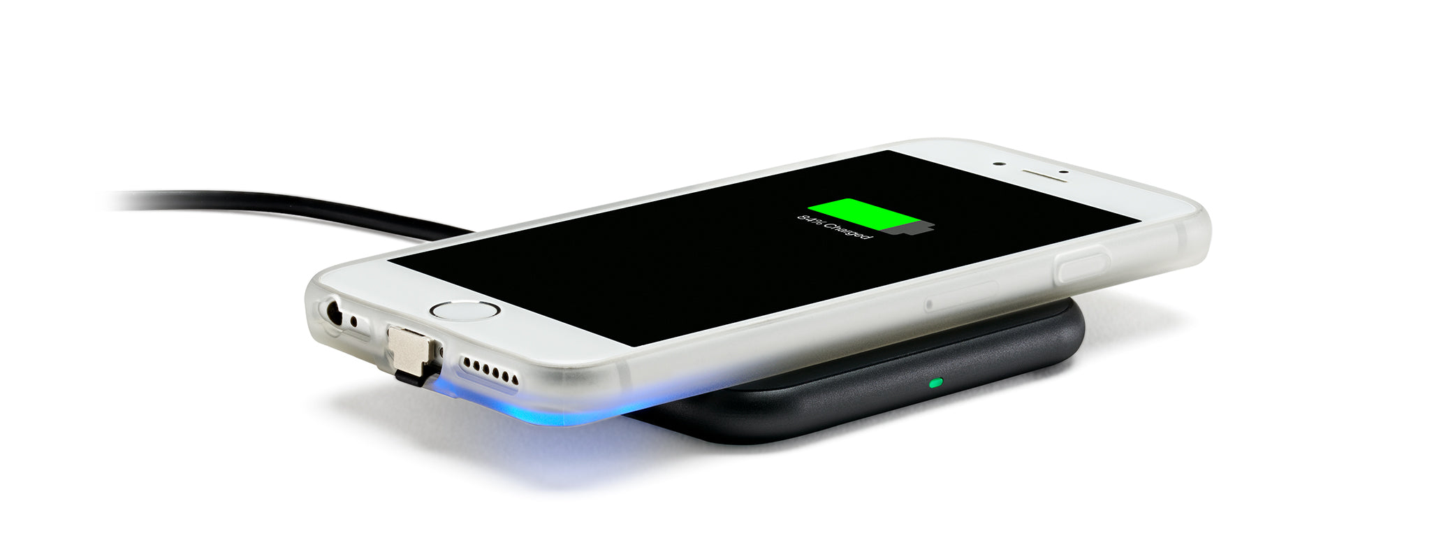 Wireless charging phone case on charger