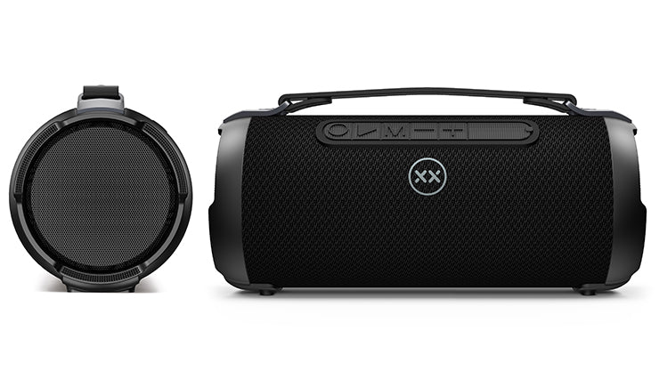 xBoost 2 wireless speaker front and side views