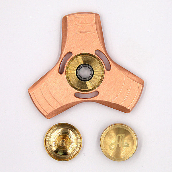 Fidget Spinner Metal, Alquar UFO Pure Copper Tri Hand Spinner, Quiet Smooth Spin