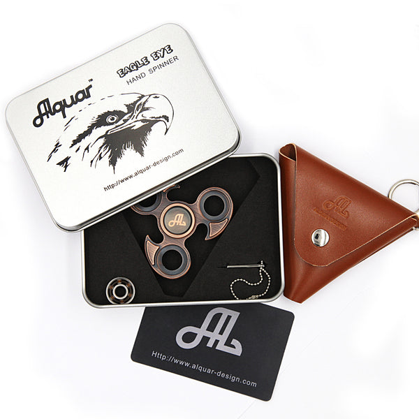 Fidget Spinner Metal, Alquar Eagle Eye Ancient Pure Copper Tri Hand Spinner, Exclusive Professional Bearing Quiet Smooth Spin, Luxury Metal Gift Box Set
