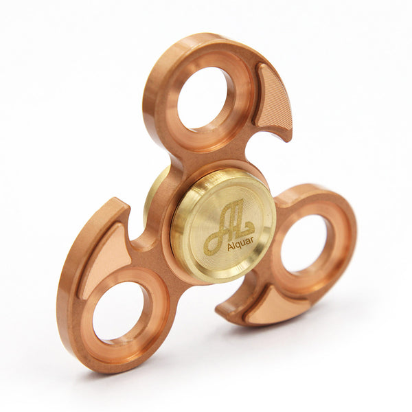 Fidget Spinner Metal, Alquar Eagle Eye Pure Copper Tri Hand Spinner, Exclusive Professional Bearing Quiet Smooth Spin, Luxury Metal Gift Box Set
