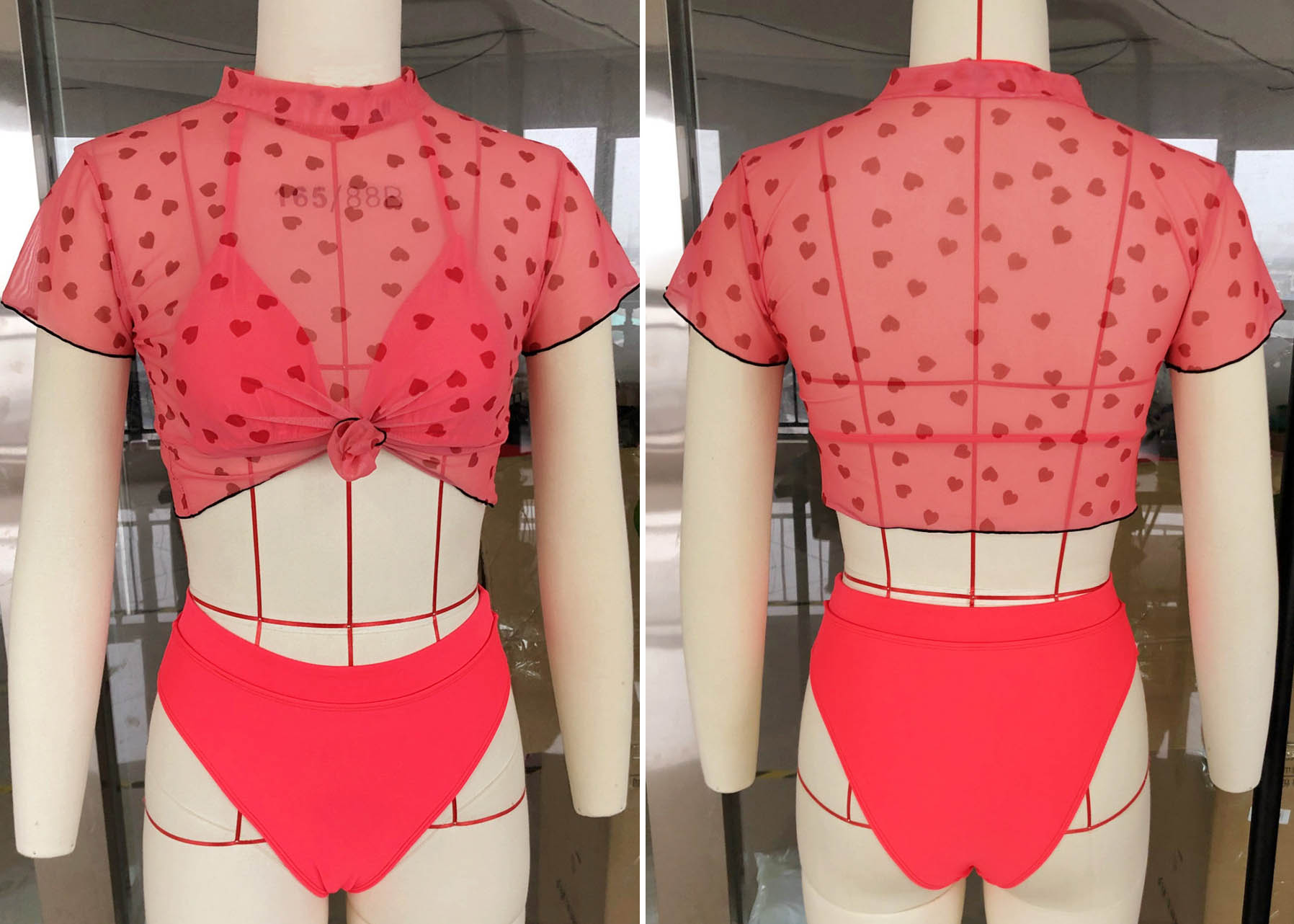 How the red cap sleeve two piece bathing suit looks like on a mannequin