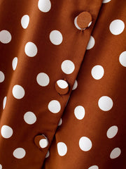 Polka dot pattern on a brown skirt