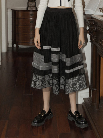 black skirt with floral prints