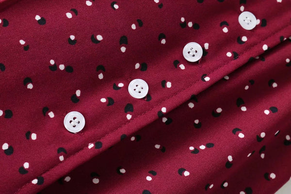 button closure on a polka dot skirt