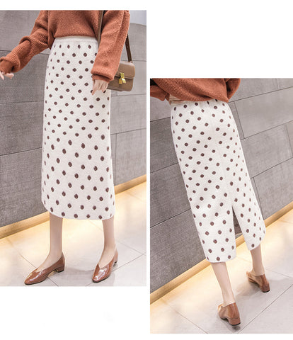 front and back of a Beige polka dot knit skirt