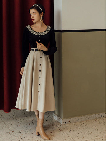 pleated button down skirt and velvet top