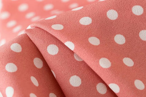 watermelon red chiffon with white polka dots