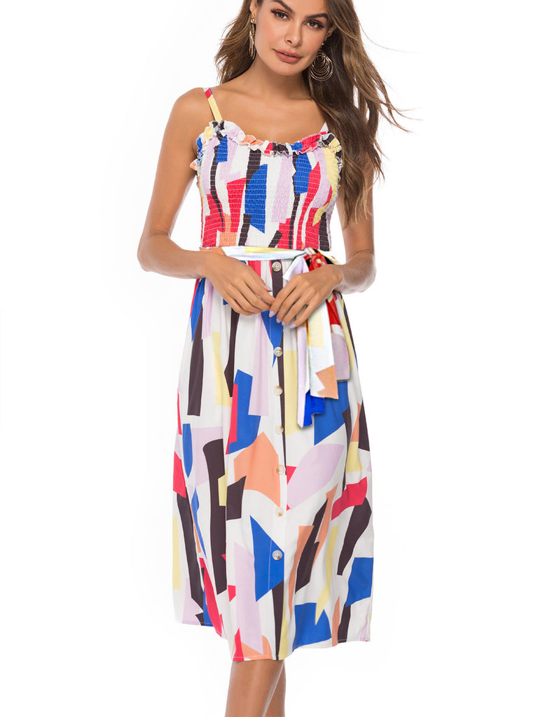 Geometric Printed Strap Smocked Midi Dress