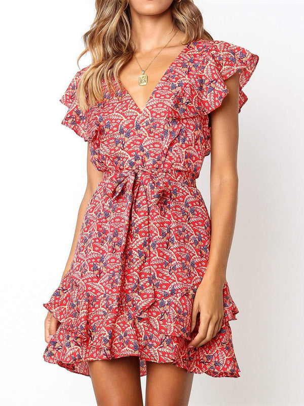 Floral Print Ruffle Trim Belted Dress