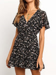 Black Chiffon Printed A-line Dress