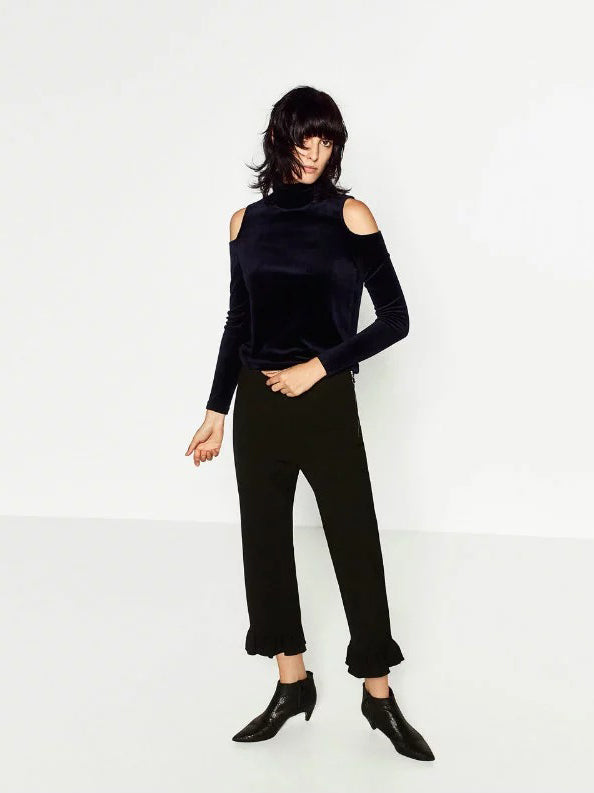 Sunny Days Turtleneck Cut-Out Velvet Top