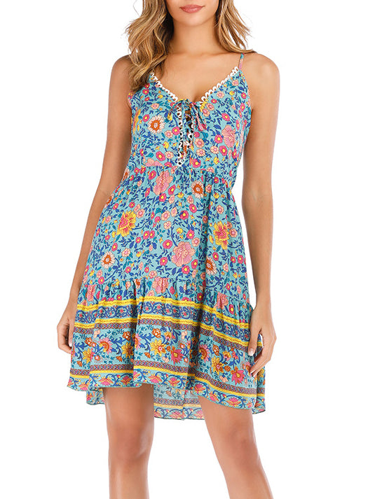 Floral Printed Sleeveless Casual Backless Dress