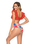 Orange Summer Days Floral High-Waist Swimsuit Set