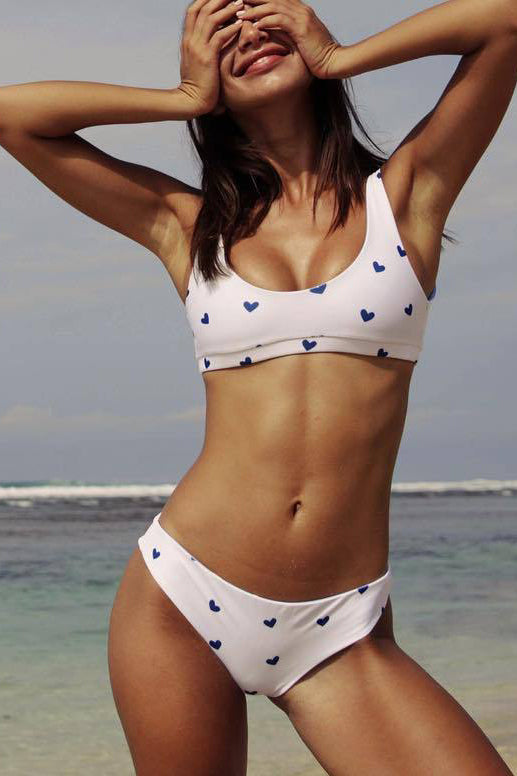 White Heart This Slip-On Bathing Suit Set