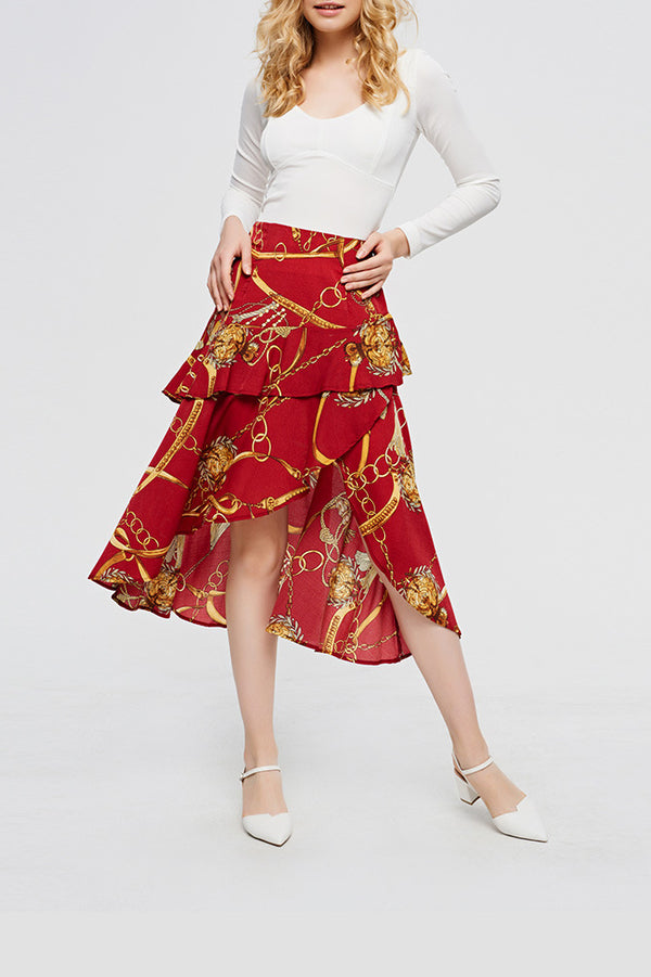 Wine Tribal Style Ruffled High-Low Midi Skirt