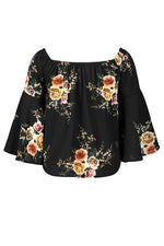 Floral Elastic Off Shoulder Bell Sleeve Top