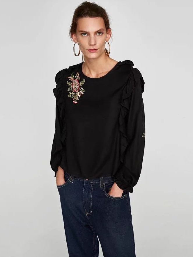 Say You Love Me Ruffled Blouse with Floral Embroidery
