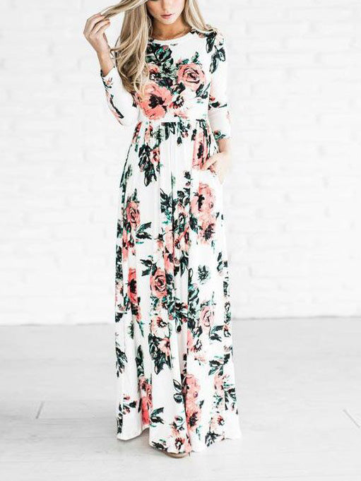 white floral maxi dress floral print long sleeve pleated party dress with a boat neck and long sleeves