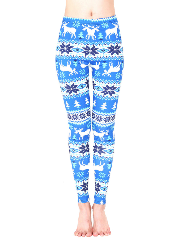 Reindeer Print Ugly Holiday Leggings