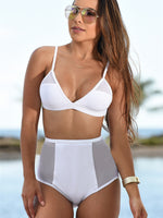 Mesh White High-Waisted Swimsuit