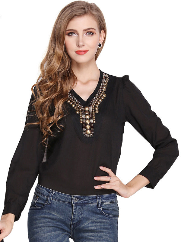 True Love V Neck Chiffon Top