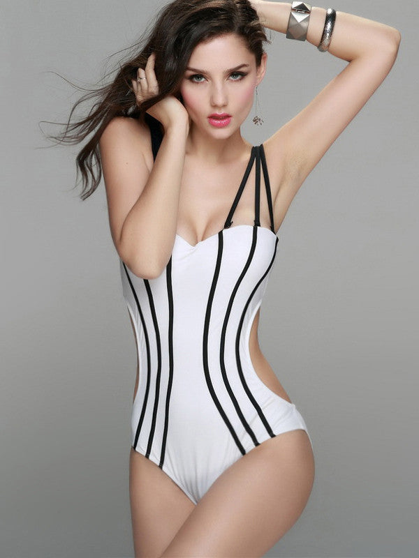 Contrast Black Striped One Piece Swimsuit