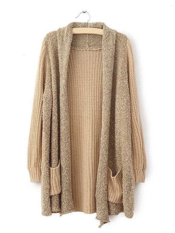 Far Away Khaki Turn-Down neck Cardigan