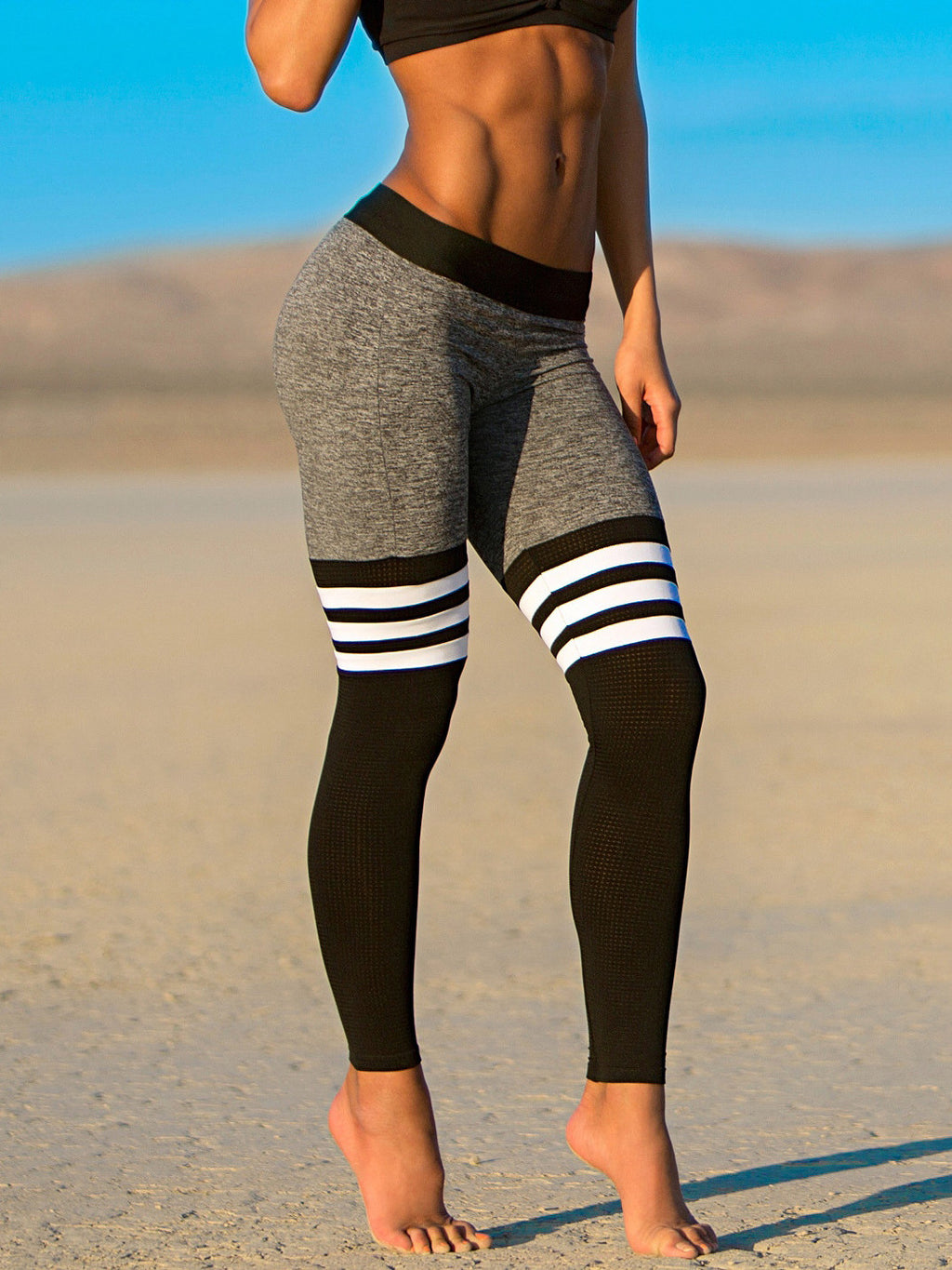 Striped Color Block Sports Leggings
