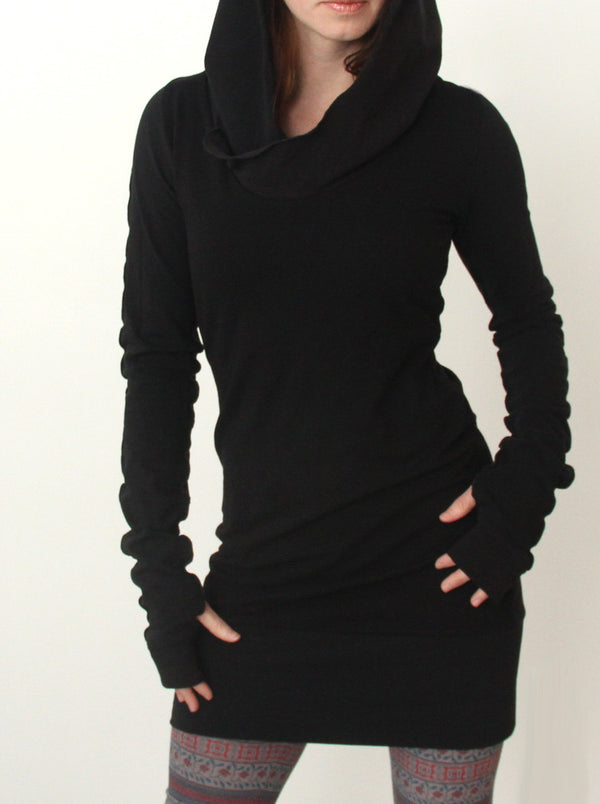 black long sleeve bodycon dress hooded dress with exposed seam detailing