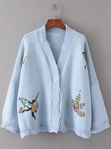 About A Bird Embroidery Distressed Sweater