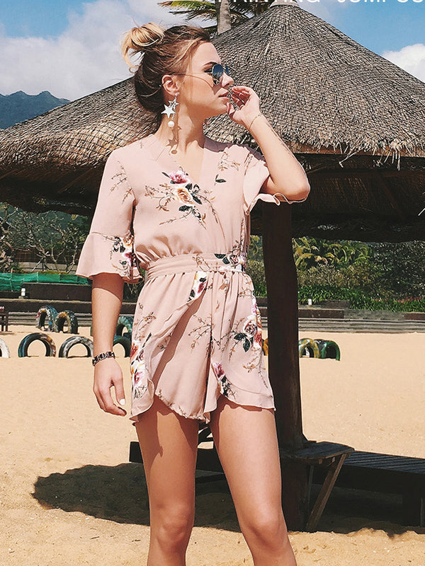 Floral Whispers Printed Plunging Neck Romper