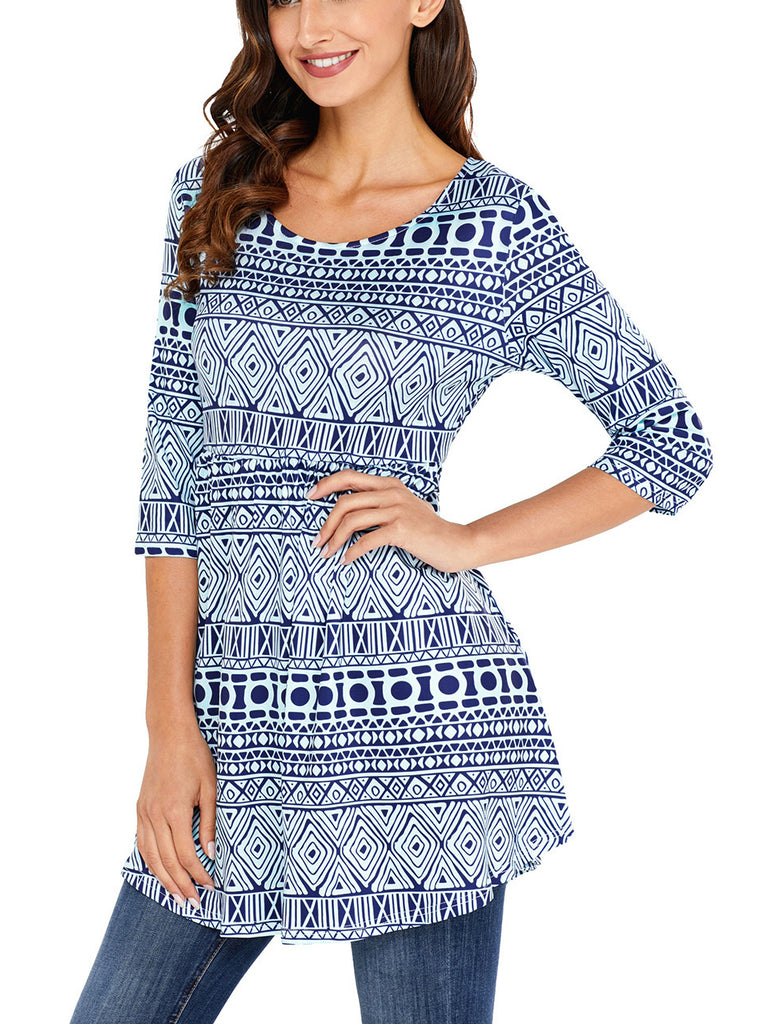 Tribal Geometric Print Blue Elegant Elegant mini dress with a boat neckline, Half sleeves, A-line silhouette and an allover geometric print
