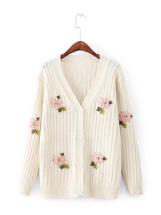 Havin' A Crush Long Sleeve Buttoned Cardigan
