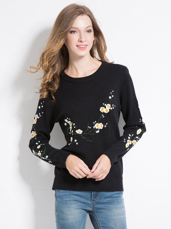 Hidden Garden Floral Embroidered Pullover