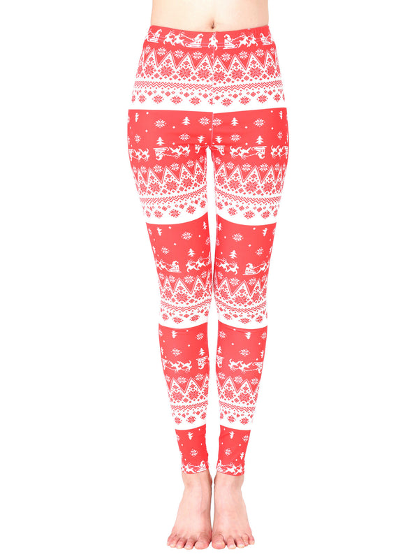 Santa On His Way Christmas Print Holiday Leggings