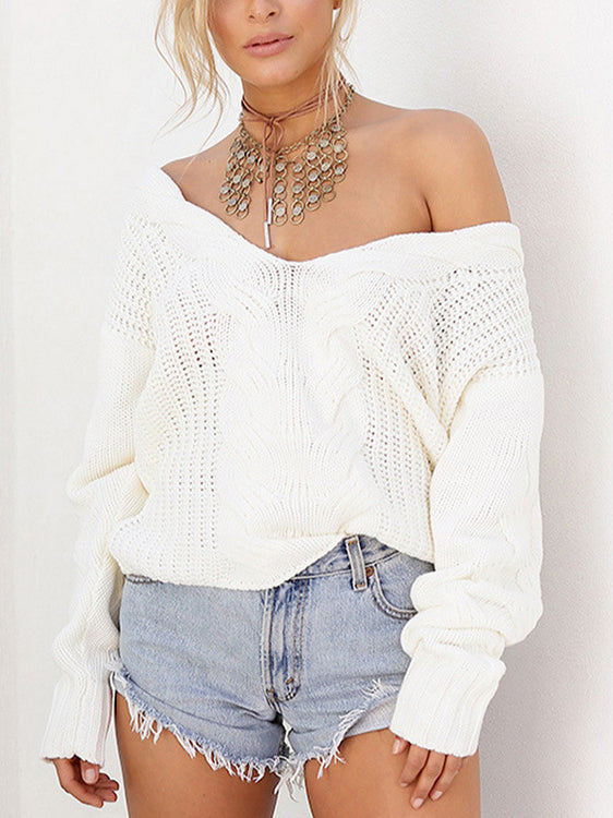 Center Twist V Neck Pullover