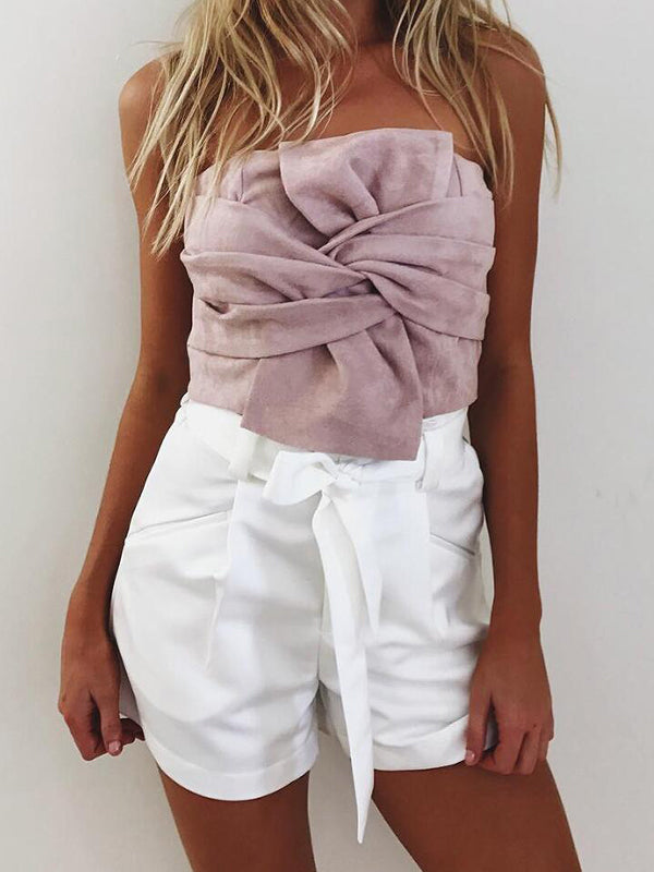Cocktail Hour Bow-Tie Suede Crop Top