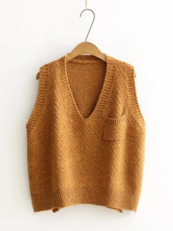 Vest Of My Love V Neck High-Low Sweater