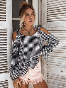 All Mine Cold Shoulder Gingham Blouse