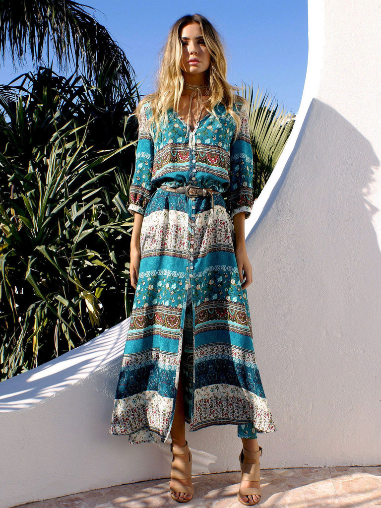 The New Boho Plunging Neck High Slit Maxi Dress