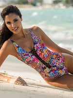 Graffiti Print Lace-Up One Piece Bikini