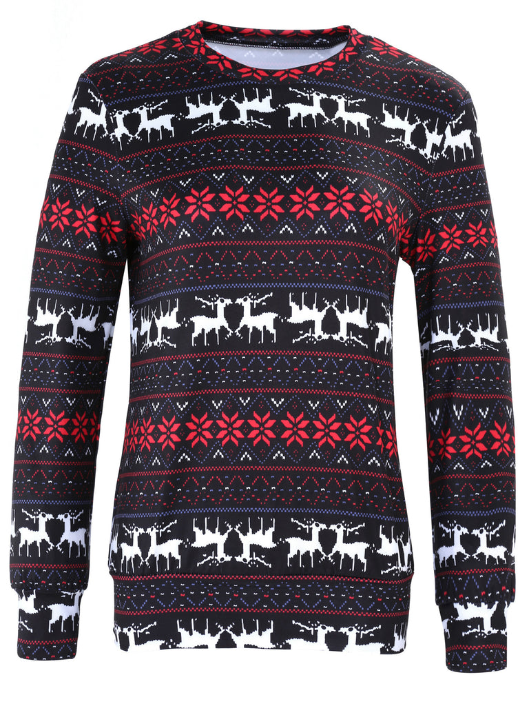 holiday snowflake Xmas pattern striped reindeer round neck long sleeve Christmas print black and white striped pullover top